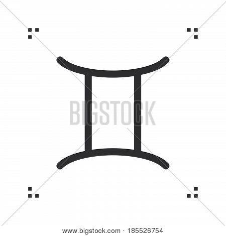 Gemini Zodiac Vector Sign, Horoscope Symbol, Astrology Line Icon, Linear Logo Illustration Isolated