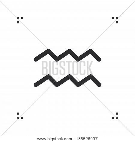 Aquarius Zodiac Vector Sign, Horoscope Symbol, Astrology Line Icon, Linear Logo Illustration Isolate