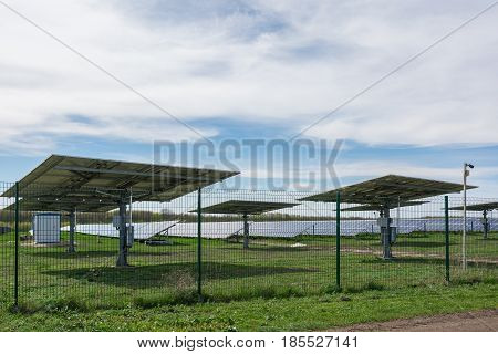 Solar Power Station. Panel Designed To Absorb The Sun's Rays As A Source Of Energy For Generating El