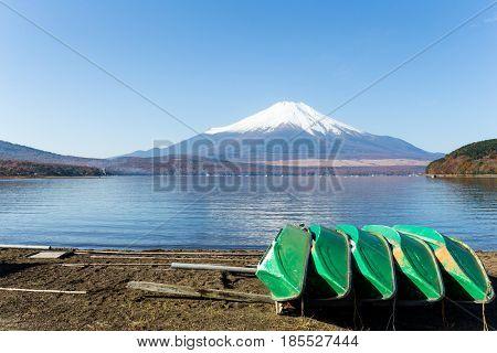 Mount Fuji and boat