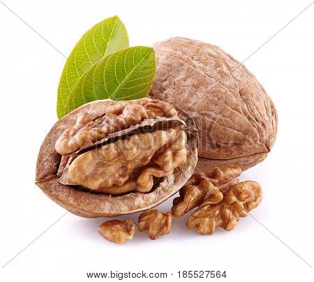 Walnuts with kernel on a white background