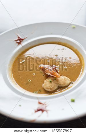 gourmet creamy spicy fresh seafood prawn soup