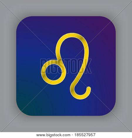 Leo Zodiac Vector Sign, Horoscope Symbol, Astrology Line Icon, Flat Button