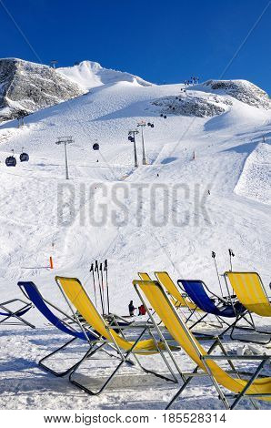 Chairs on the ski piste in Hintertux Zillertal Austria