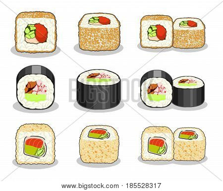Collection of unagi hosomaki, curly dragon and fuji salmon sushi rolls. Vector set isolated on a white background.