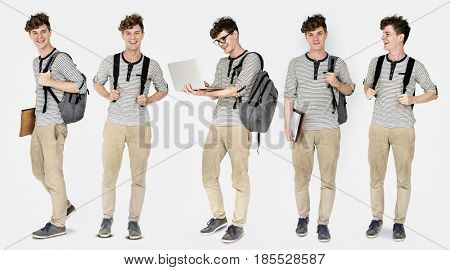 Young Adult Man Student Gesture Studio Portrait Isolated