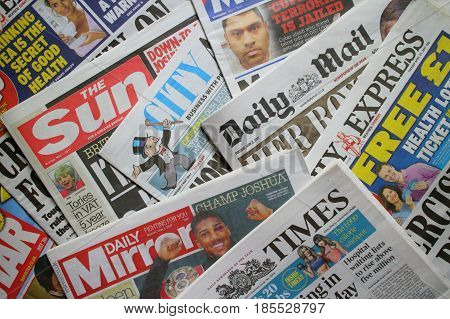 Bracknell, England - May 09, 2017: A random selection of British daily newspapers currently in circulation
