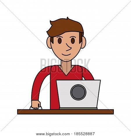 colorful image cartoon front view half body guy with laptop computer vector illustration