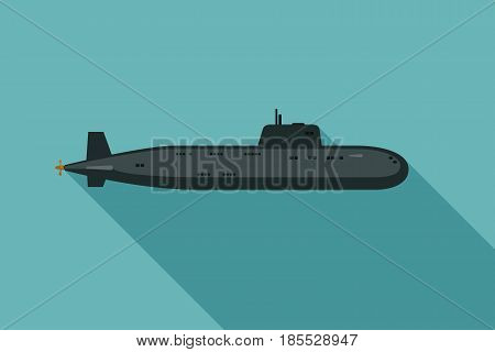 Submarine with long shadow in flat style. Vector simple illustration of the nuclear black submarine.