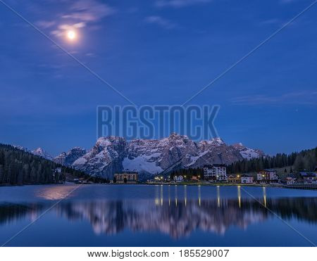 Blue reflection of lake Misurina, Dolomites Italy