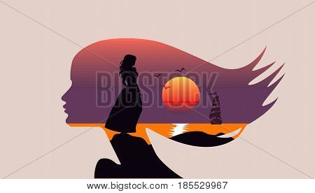 Seascape in silhouette, woman face profile, double exposure, sea, sunset, sailboat, vector. Romance, hair flowing in wind. Girl in an ancient dress on stone, sea, ocean, waiting for love.