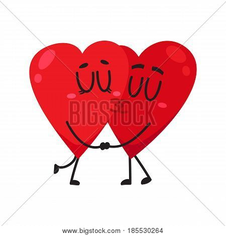 Two hearts kissing each other, holding hands, couple in love concept, cartoon vector illustration on white background. Funny couple of hearts kissing, eternal love concept, Valentine day