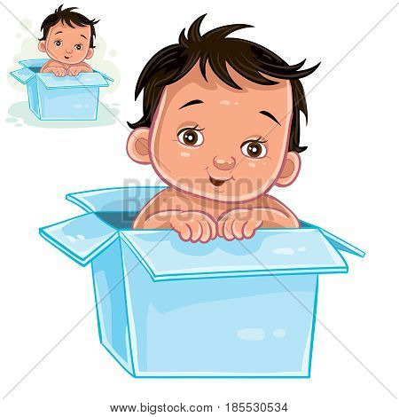 Vector illustration of little baby with swarthy skin sitting in box. The appearance of the long-awaited child