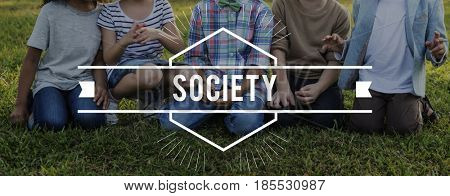 Kids Friendship Togetherness Society Word Graphic Banner