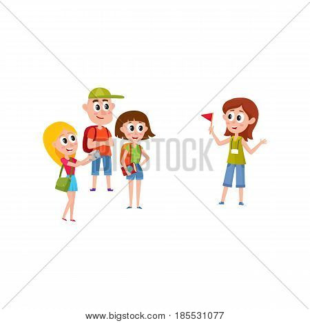 Tour guide with group of tourists, cartoon vector illustration isolated on white background. Group of tourists listening to young, pretty girl guide telling something interesting, sightseeing