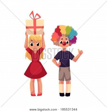 Kids, boy in clown wig and red nose, girl holding birthday gift, cartoon vector illustration isolated on white background. Two kids, boy and girl, at birthday party, with clown nose, hair and gift