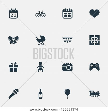 Vector Illustration Set Of Simple Birthday Icons. Elements Train, Days, Resonate And Other Synonyms Steam, Ribbon And Speech.