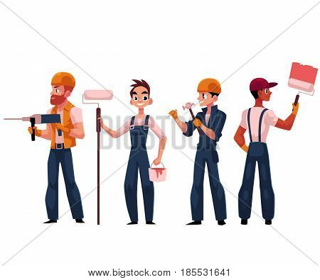 Construction workers, builders, painters wearing helmets and overalls, cartoon vector illustration isolated on white background. Builders, construction workers painting, drilling, driving nails
