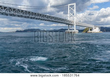 Onaruto Bridge and Whirlpool with blue sky