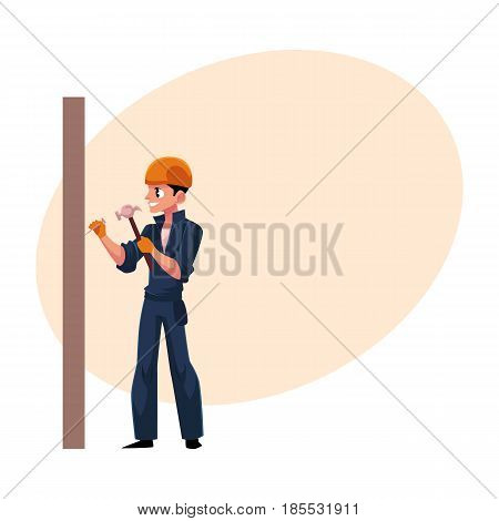 Worker, builder in helmet, overalls hammering nails into the wall, cartoon vector illustration with space for text. Full length portrait of Caucasian construction worker, builder with hammer