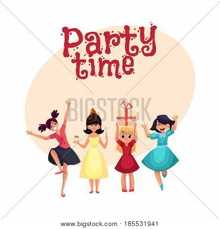 Four various girls in colorful dresses having fun at birthday party, cartoon style invitation, banner, poster, greeting card design. Party invitation, advertisement, Set of girls, having fun, dancing