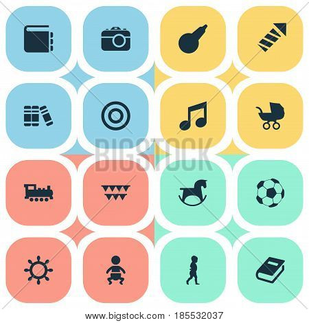 Vector Illustration Set Of Simple Infant Icons. Elements Board, Festival, Bookshop And Other Synonyms Pram, Sparklers And Carnaval.
