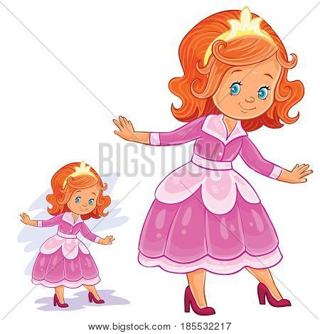 Vector clip art illustration with young girl in ballroom, period costume. Print, template, design element