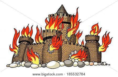 Cartoon image of burning castle. An artistic freehand picture.