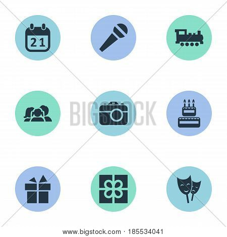 Vector Illustration Set Of Simple Birthday Icons. Elements Confectionery, Train, Special Day And Other Synonyms Present, Camera And Speech.