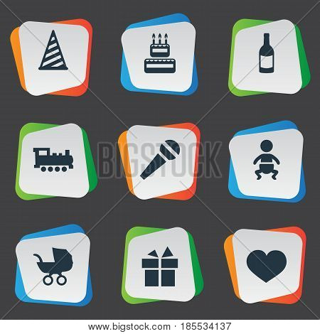 Vector Illustration Set Of Simple Birthday Icons. Elements Soul, Confectionery, Speech And Other Synonyms Ribbon, Baby And Fizz.