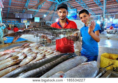 Bandar Abbas Hormozgan Province Iran - 15 april 2017: Persian traders shows fresh fish at the indoor market.