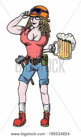 Cartoon image of hard working woman with beer. An artistic freehand picture.