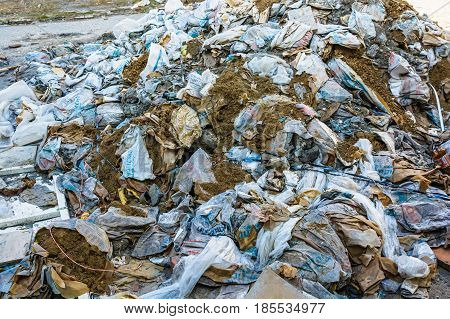 Close up image of industrial garbage dump