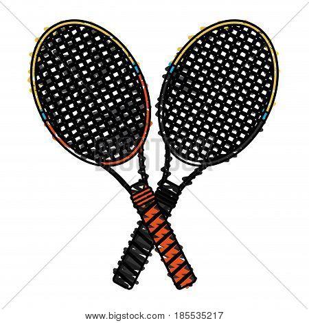 color crayon stripe cartoon two tennis racquets cross vector illustration