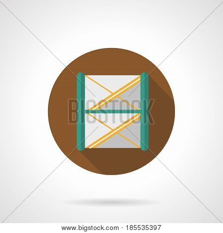 Abstract symbol of metal construction for stage or truss system. Services and equipment for concerts organization. Round flat design vector icon.