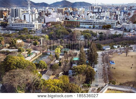 JAPAN, IWAKUNI, APRIL, 03, 2017 - Area view on the a modern Iwakuni city at Yamaguchi Prefecture, Japan.