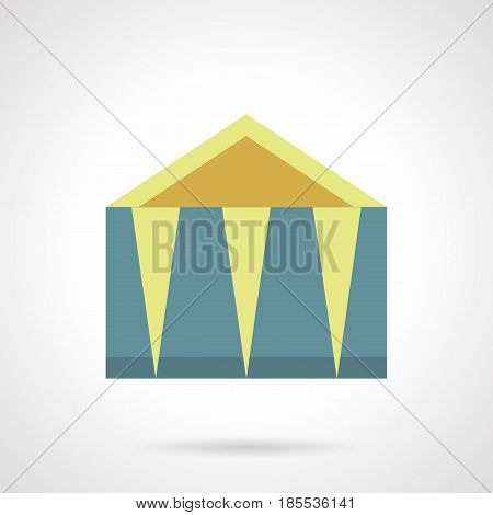 Blue canopy for outdoor trade, exhibition, tasting. Mobile and folding constructions for commercial events. Flat color style vector icon.