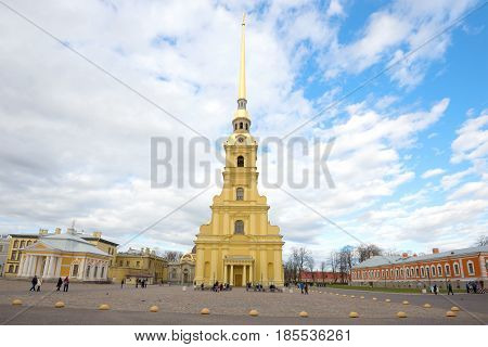 SAINT-PETERSBURG, RUSSIA - MAY 03, 2017: A cloudy May day in the Peter and Paul Fortress. View of the Peter and Paul Cathedral