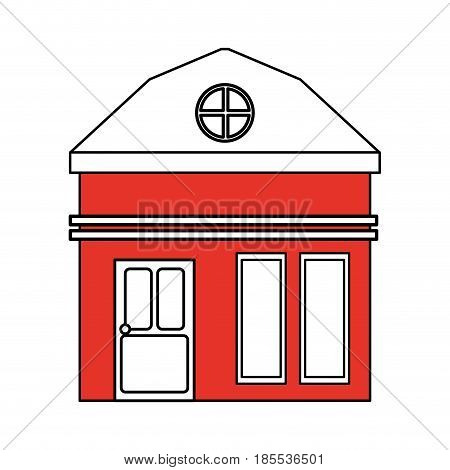 color silhouette cartoon red facade small house with attic vector illustration