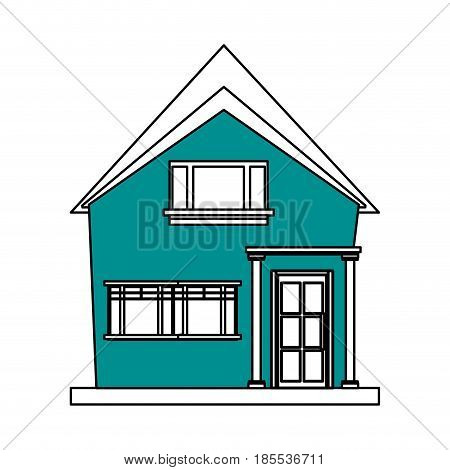 color silhouette cartoon blue facade irregular structure house with modern style vector illustration