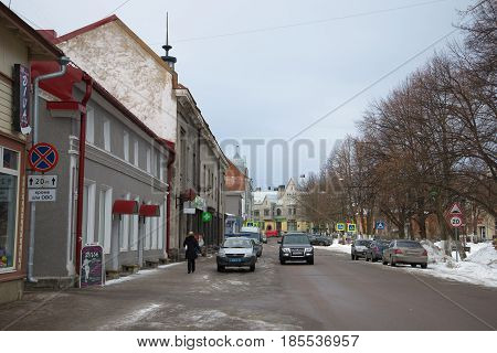 SORTAVALA, RUSSIA - FEBRUARY 18, 2017: Cloudy February day on the Kirov square