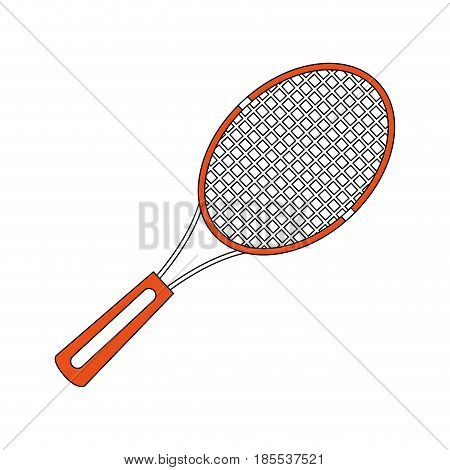 color silhouette cartoon tennis racquet with handle vector illustration