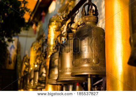 Bells In Gold Buddhist Temple