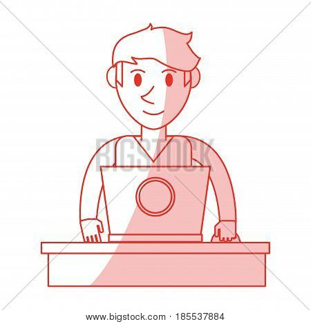 red shading silhouette front view half body guy with laptop computer vector illustration