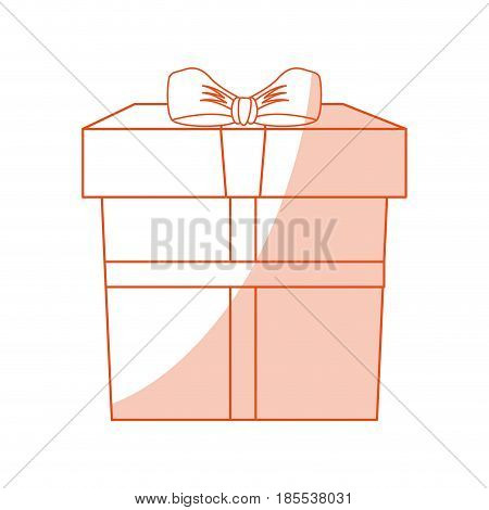 orange shading silhouette cartoon giftbox with wrapping bow vector illustration