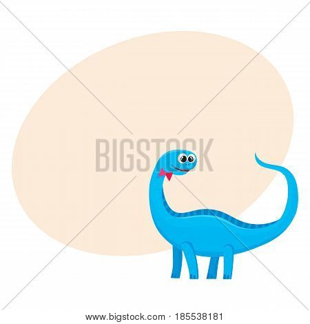 Cute and funny smiling baby brontosaurus, dinosaur, cartoon vector illustration with space for text. Funny, happy brontosaurus dinosaur character, decoration element
