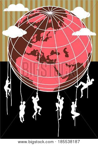 Conceptual image of men climbing earth globe. Immigration from southern hemisphere