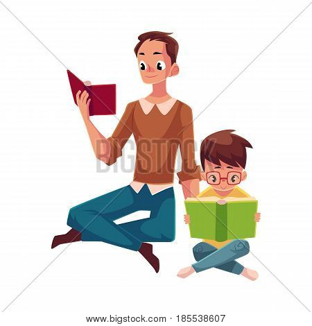 Young man and little boy reading books sitting legs crossed on the floor, cartoon vector illustration isolated on white background. Man and boy, father and son reading thick interesting books, sitting