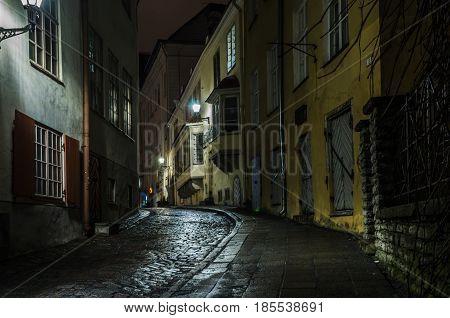 TALLINN, ESTONIA - JANUARY 29, 2017: Night Tallinn, night view of the street, Tallinn Estonia.