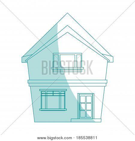 blue shading silhouette cartoon facade irregular structure house vector illustration